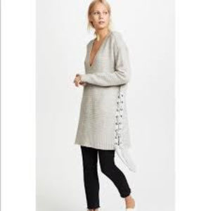 Free People Heart It Lace Up Sweater V Neck Top